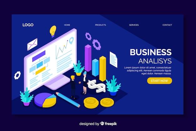 Página de destino isométrica de análise de negócios