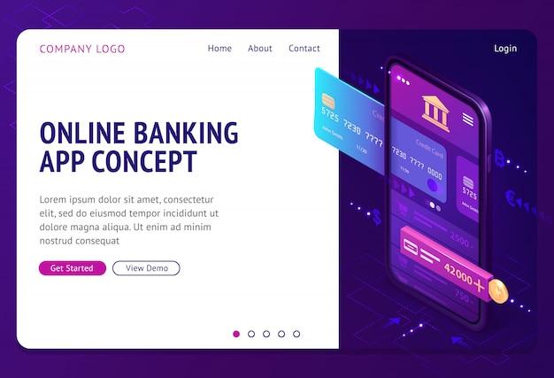 Página de destino isométrica de aplicativo de banco on-line, banner
