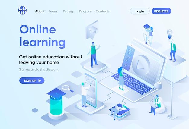 Página de destino isométrica de aprendizado on-line. educação a distância, desenvolvimento de habilidades profissionais e crescimento na carreira. modelo de estudo interativo para cms e site. cena de isometria com caracteres de pessoas.