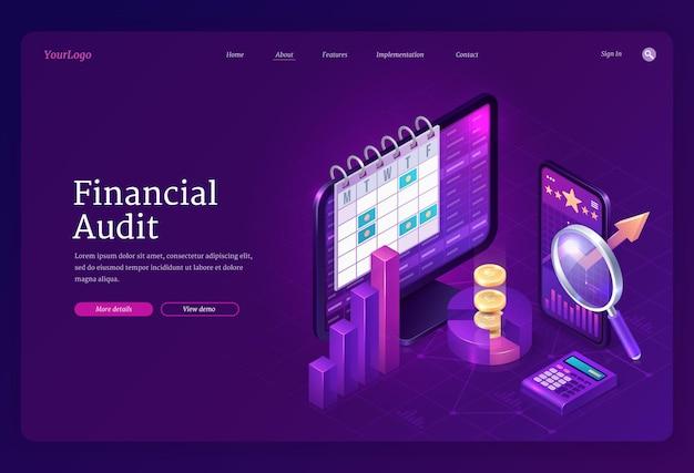 Página de destino isométrica de auditoria financeira