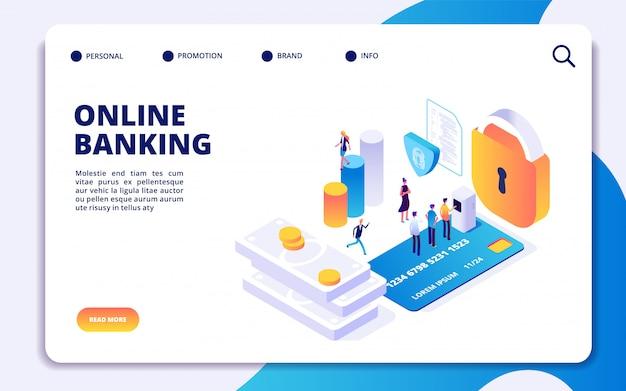 Página de destino isométrica de banco on-line. vector transferências de dinheiro pela internet, pagamento seguro, aplicativo de banco móvel