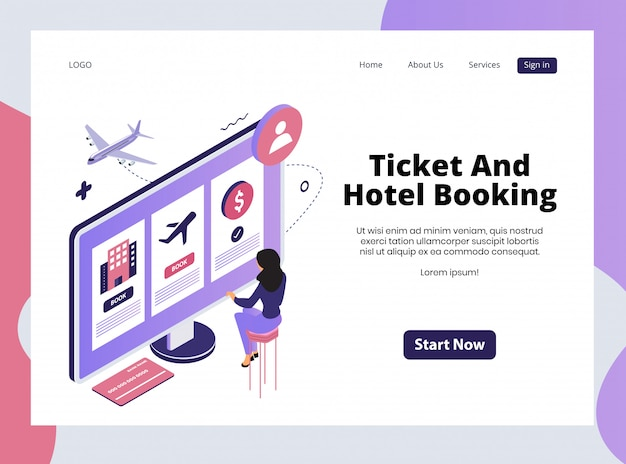 Página de destino isométrica de bilhetes e reservas de hotéis
