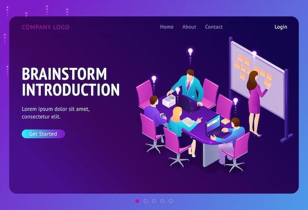 Página de destino isométrica de brainstorm introdução