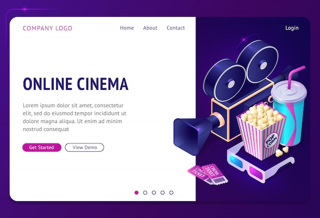 Página de destino isométrica de cinema on-line, aplicativo de internet