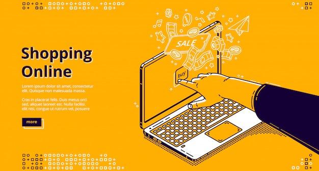 Página de destino isométrica de compras online, banner da web