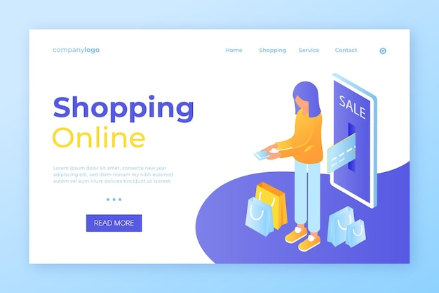 Página de destino isométrica de compras online
