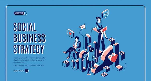 Página de destino isométrica de crescimento de negócios sociais
