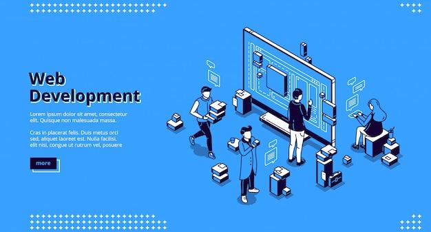 Página de destino isométrica de desenvolvimento da web, codificação