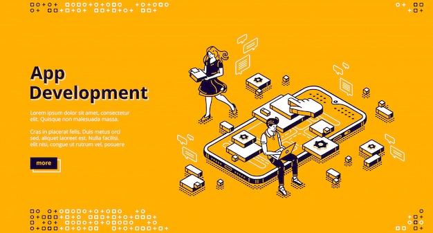Página de destino isométrica de desenvolvimento de aplicativos para dispositivos móveis