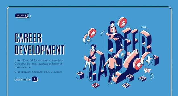 Página de destino isométrica de desenvolvimento de carreira
