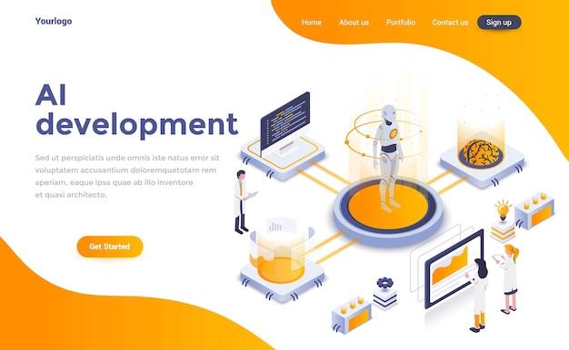Página de destino isométrica de desenvolvimento de ia