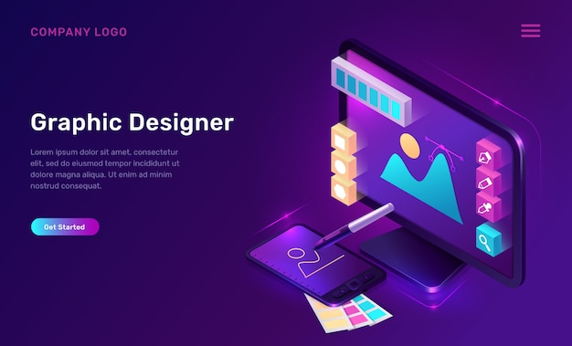 Página de destino isométrica de designer gráfico, banner