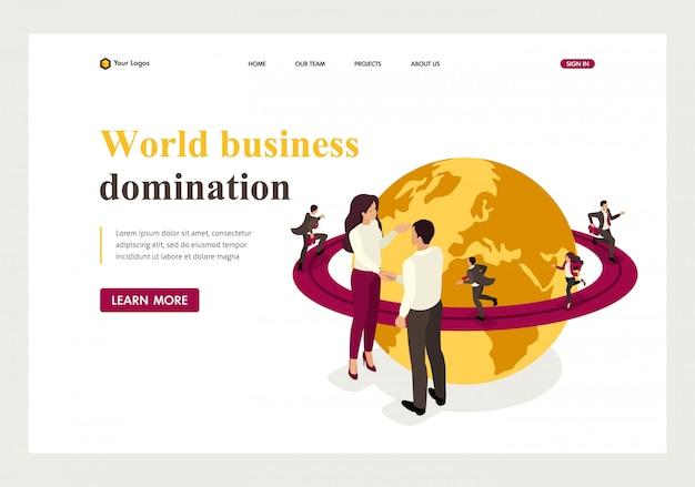 Página de destino isométrica de dominação empresarial mundial, acordo de grandes empresas.