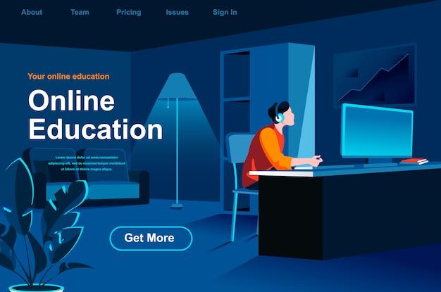Página de destino isométrica de educação on-line.
