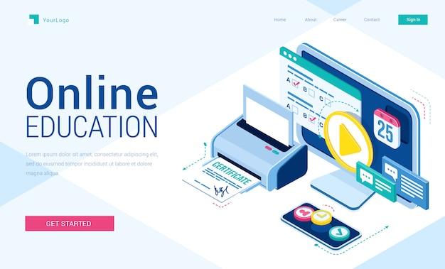 Página de destino isométrica de educação online com equipamentos de alunos para estudar via internet