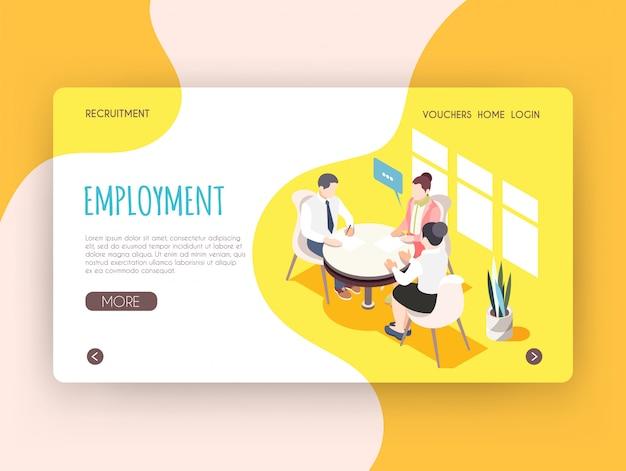 Página de destino isométrica de emprego com pessoas adultas, sentado à mesa redonda e participando de ilustração vetorial de entrevista de emprego