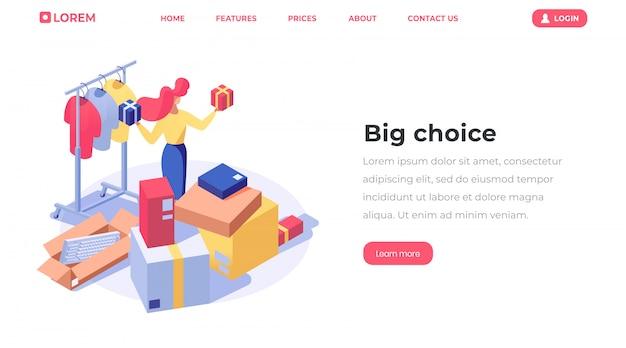 Página de destino isométrica de escolha de loja on-line