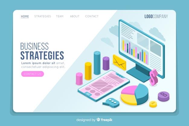Página de destino isométrica de estratégias de negócios
