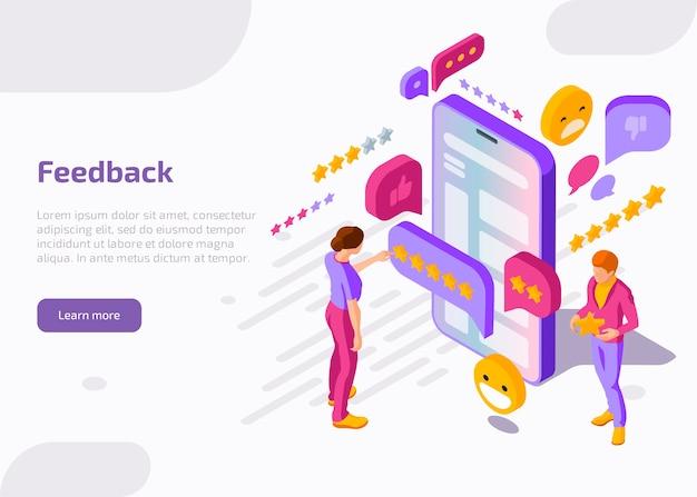 Página de destino isométrica de feedback.