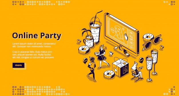Página de destino isométrica de festa on-line, celebração