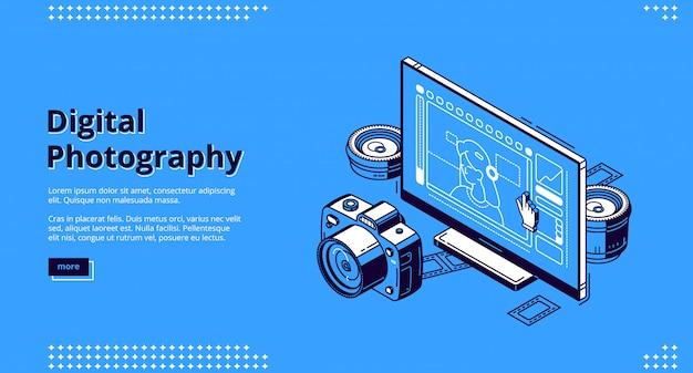 Página de destino isométrica de fotografia digital