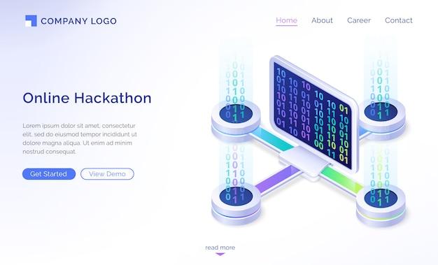 Página de destino isométrica de hackathon on-line, banner