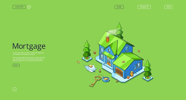 Página de destino isométrica de hipoteca com casa de campo