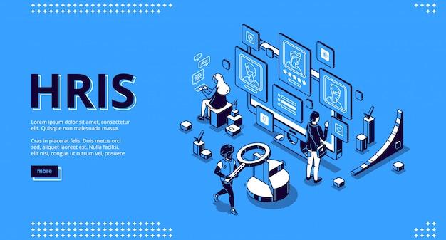 Página de destino isométrica de hris. tecnologia de recursos humanos