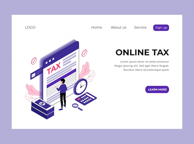 Página de destino isométrica de imposto on-line