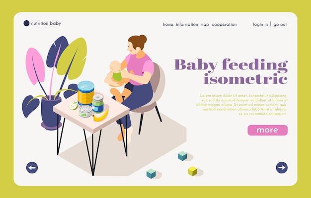 Página de destino isométrica de informações nutricionais de cuidados infantis com a mãe alimentando o bebê escolhendo ilustração de produtos infantis saudáveis