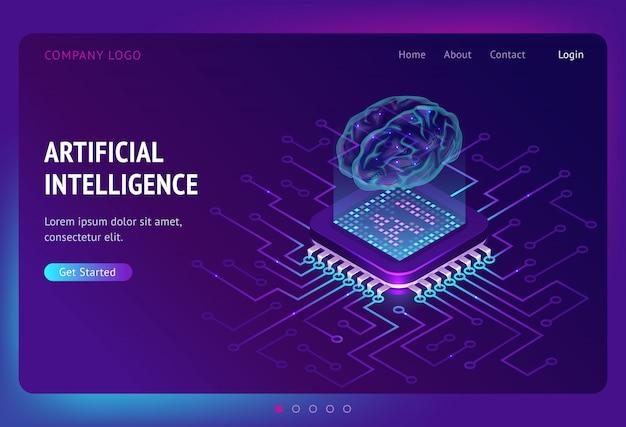 Página de destino isométrica de inteligência artificial ai