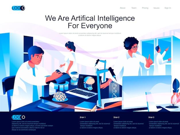 Página de destino isométrica de inteligência artificial com situação de caracteres planos