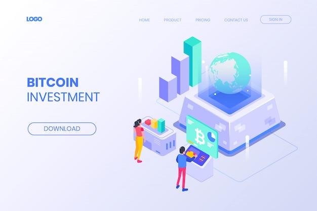 Página de destino isométrica de investimento em bitcoin