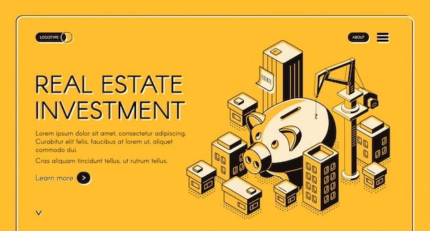 Página de destino isométrica de investimento imobiliário