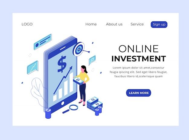 Página de destino isométrica de investimento on-line