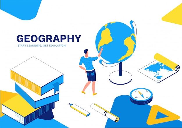 Página de destino isométrica de lição de geografia