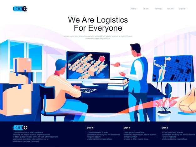 Página de destino isométrica de logística com situação de caracteres planos