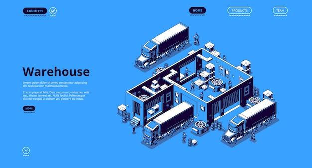Página de destino isométrica de logística de armazém
