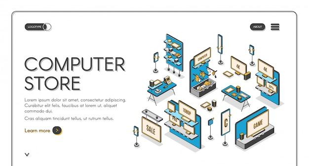 Página de destino isométrica de loja de informática