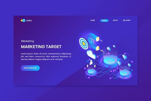 Página de destino isométrica de marketing de meta de negócios
