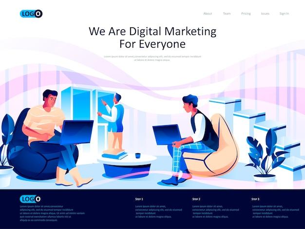 Página de destino isométrica de marketing digital com situação de caracteres planos