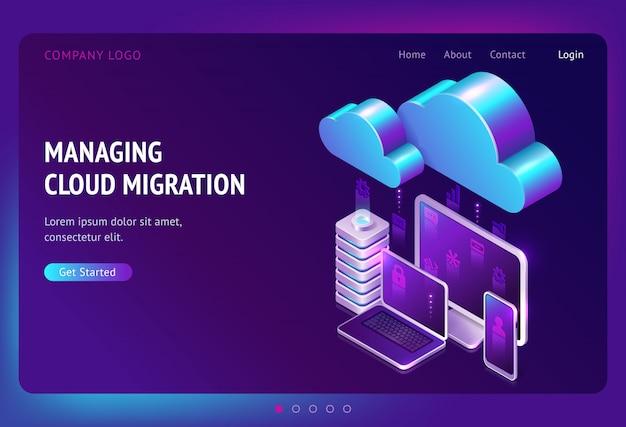 Página de destino isométrica de migração de dados digitais