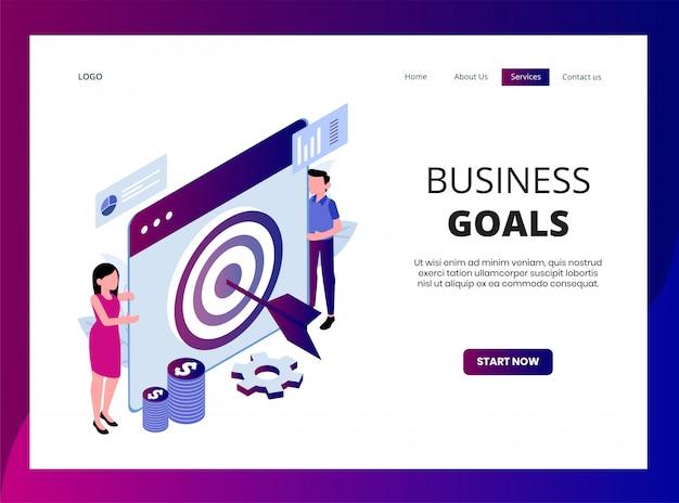 Página de destino isométrica de objetivos de negócios