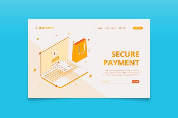 Página de destino isométrica de pagamento seguro