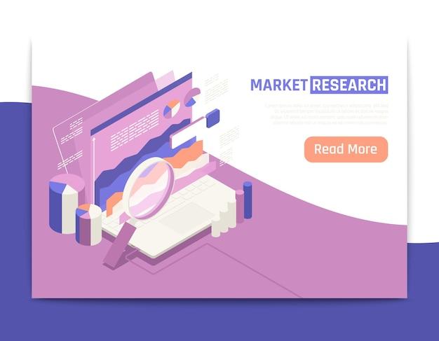 Página de destino isométrica de pesquisa de mercado