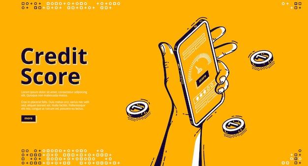Página de destino isométrica de pontuação de crédito