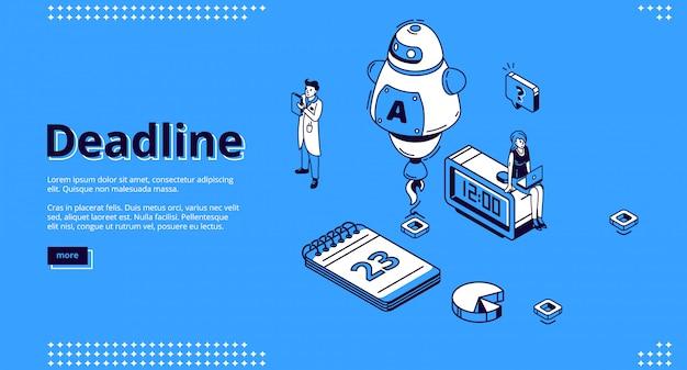 Página de destino isométrica de prazo com o robô ai