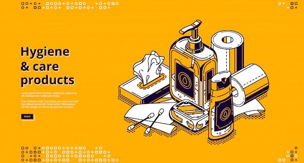Página de destino isométrica de produtos de higiene e cuidados