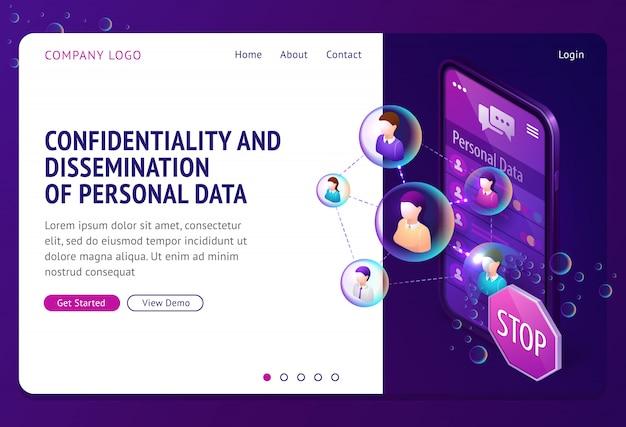 Página de destino isométrica de proteção de dados pessoais