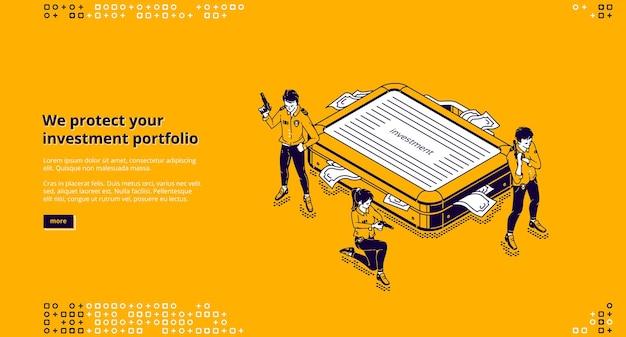 Página de destino isométrica de proteção de portfólio de investimentos